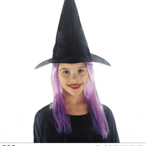 Chapeau sorciere cheveux violets