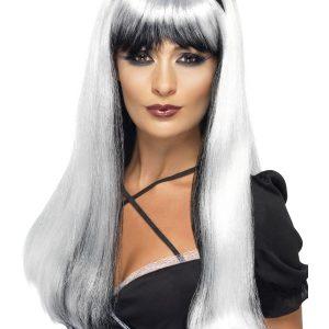 Perruque longue blanche noire frange