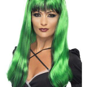 Perruque longue verte noire frange