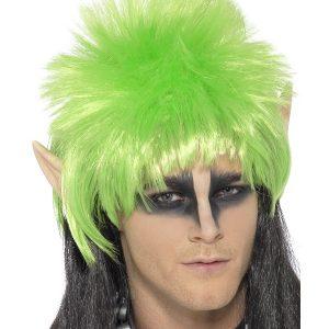 Perruque elfe fantasy noire verte