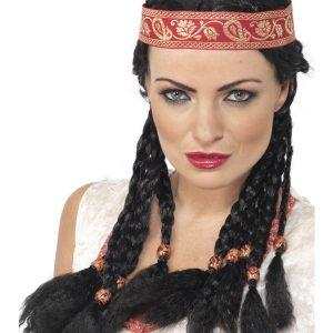Perruque indienne noire tresses bandeau
