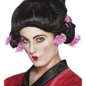 Perruque geisha noire fleurs roses