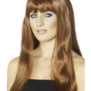 Perruque longue marron frange