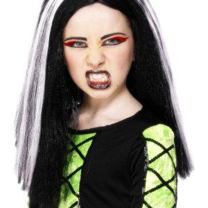 Perruque longue enfant noire blanche