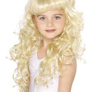 Perruque longue bouclée enfant blonde