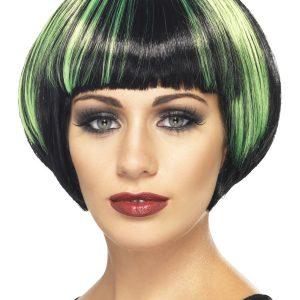 Perruque courte noir vert frange