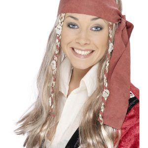 Perruque pirate blonde foulard tresses