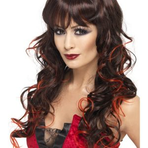 Perruque ondulée longue noir rouge