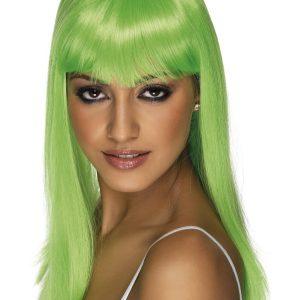 Perruque longue verte frange