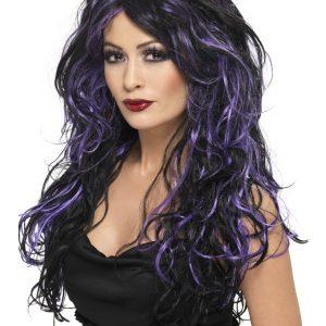 Perruque ondulée longue noir violet