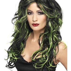 Perruque ondulée longue noir vert