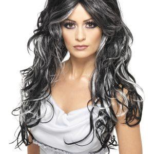 Perruque ondulée longue noir blanc