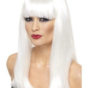 Perruque longue blanche frange