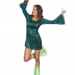 Disco robe manches longues verte brillante