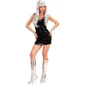 Disco robe courte noire brillante femme fatale