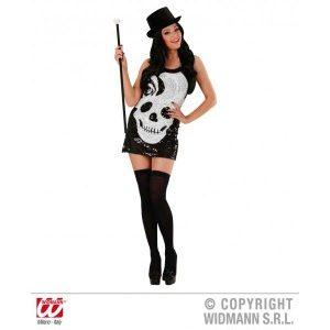 Style disco robe noire et tête de mort