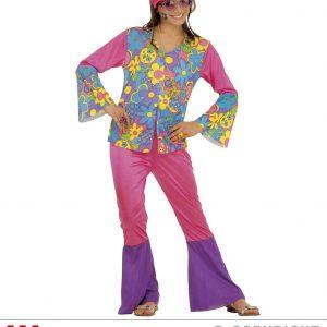Déguisement femme 70's chemise et pantalon tons violets et bleus