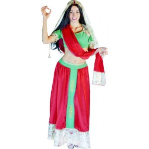 Déguisement hindoue rouge et vert