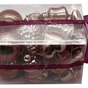 BOITE DE 20 DECORATIONS DE NOEL PLASTIQUE ASSORTIES CHOCOLAT