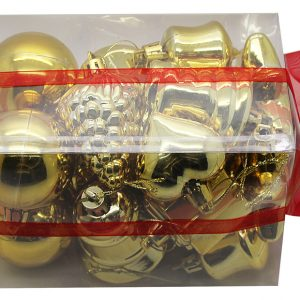 BOITE DE 20 DECORATIONS DE NOEL PLASTIQUE ASSORTIES OR