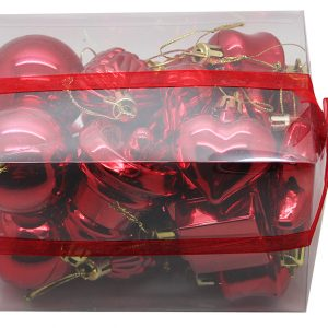 BOITE DE 20 DECORATIONS DE NOEL PLASTIQUE ASSORTIES ROUGE