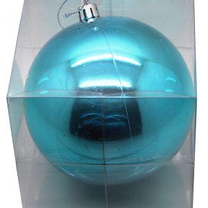BOITE PVC 1 BOULE BRILLANTE PLASTIQUE 20 CM TURQUOISE