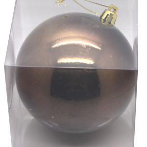 BOULE BRILLANTE PLASTIQUE 10 CM EN BOITE PVC CHOCOLAT