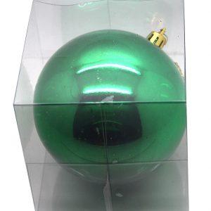 BOULE BRILLANTE PLASTIQUE 10 CM EN BOITE PVC VERT