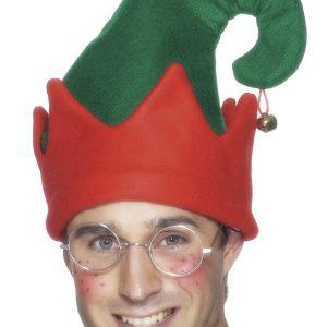 Bonnet de lutin vert et rouge avec grelot