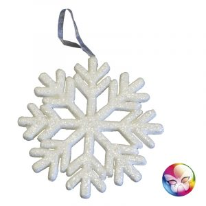 FLOCON DE NEIGE BLANC IRISE 25 CM