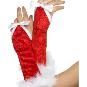 Gants longs rouge noeud blanc