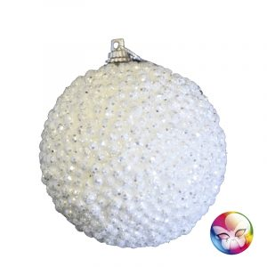 LOT DE 3 BOULES DE NOEL BLANCHES HERISSON DIAMETRE 7 CM