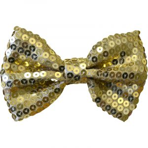 NOEUD PAPILLON PAILLETTES OR