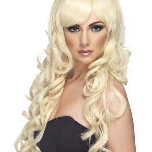 Perruque blonde frange ondulé
