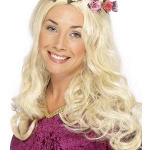 Perruque blonde ondulé