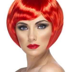Perruque courte rouge électrique