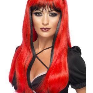 Perruque longue rouge mèches noires
