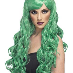 Perruque longue verte ondulée