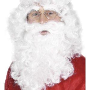 Perruque moustache et barbe blanc frisé