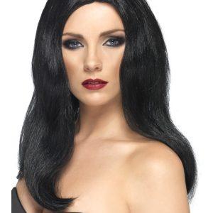 Perruque noire sans frange