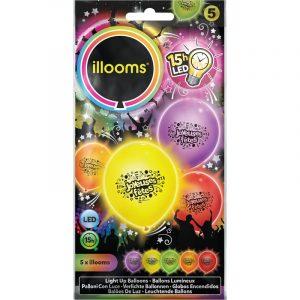 SACHET DE 5 BALLONS A LED JOYEUSES FETES 5 COULEURS 21 X 10.5 CM