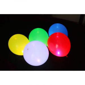 SACHET DE 5 BALLONS LATEX LUMINEUX LED ø23CM - COULEURS ASSORTIES