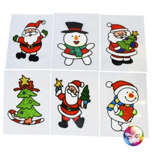 VITROSTATIQUE DE NOEL EN 3D - 15X20 CM 6 DESIGN ASSORTIS