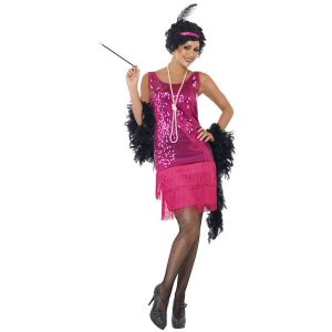 Costume charleston paillettes fushia