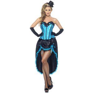 Danseuse burlesque bleu et noir