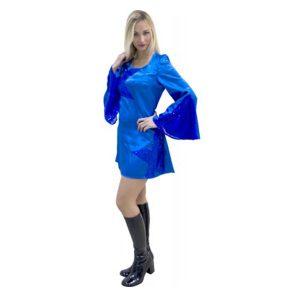 Déguisement disco tunique courte bleue