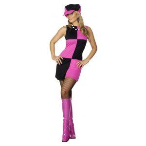 Déguisement disco tunique courte rose et noire