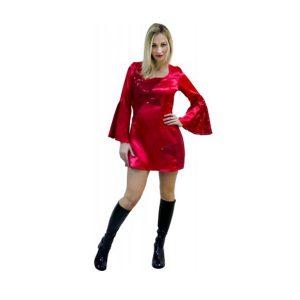 Déguisement disco tunique courte rouge style soie