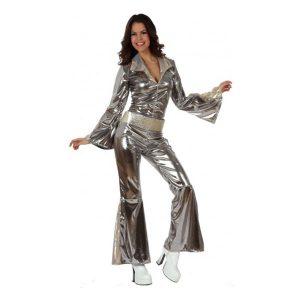 Déguisement disco tunique pantalon argenté
