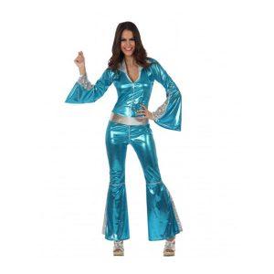 Déguisement disco tunique pantalon bleu électrique